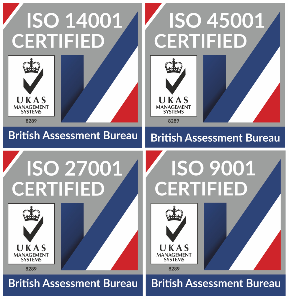 Re-certified under the British Assessment Bureau to UKAS standards.